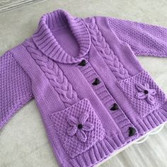 knitting for kids Girls Cardigans in Stylecraft Life DK - 9194 Diy Crochet Sweater, Baby Cardigan Knitting Pattern Free, Kids Knitting Patterns, Knitted Baby Cardigan, Knit Baby Sweaters, Knitting For Kids, Knitting Designs, Knitting Projects, Cardigan Bebe