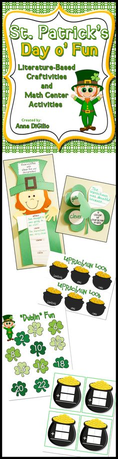 "St. Patrick's Day Fun Literature-Based Craftivity and Math Activities with Place Value, Pot o' Gold Domino Sums, ""Dublin Fun"" Doubles Game, and MORE!! $"