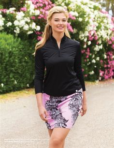 Classy and modern, the GG Blue Ruby Floral Pull On Golf Skort and UPF 50+ Polo.  #golf4her