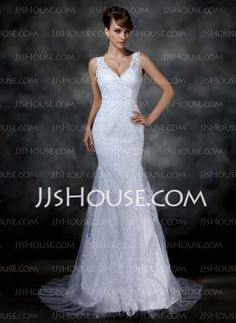 Wedding Dresses - $200.99 - Mermaid V-neck Chapel Train Satin  Tulle Wedding Dresses With Lace (002004597) http://jjshouse.com/Mermaid-V-Neck-Chapel-Train-Satin-Tulle-Wedding-Dresses-With-Lace-002004597-g4597