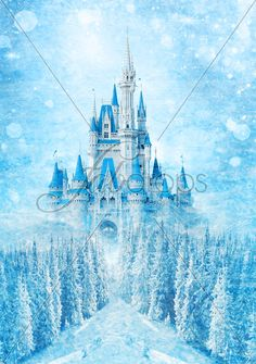 Winter Princess Castle Backdrop Birthday Party by FabDrops on Etsy