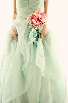 Solely Weddings: mint and pink dress