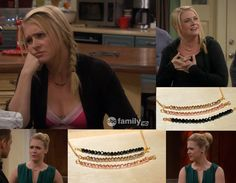 Beautiful Faced Crystal Necklaces Night Black / by JewelrybyOz, Melissa Joan Hart necklace, Melissa and Joey outfits, Melissa and Joey wedding, funny, Joey Lawrence, worn on tv