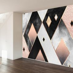 Art Deco Diamonds Wall Mural - New Site Room Wall Painting, Mural Wall Art, Creative Wall Decor, Diy Wall Decor, Bedroom Wall Designs, Bedroom Decor, Geometric Wall Paint, Diamond Wall, Cool Walls