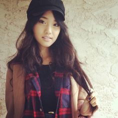 Jenn Im: Fall/Winter Camel Coat, Plaid Scarf, and Paperboy Hat