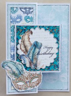Birthday card 2015: Female: Masked Ball: Z-shaped card; All papers from the Craftwork Cards Venetian Collection pack