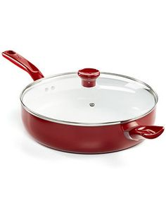 The T-Fal Grand Chef Ceramic Nonstick jumbo cooker adds a bright pop of color to your kitchen and makes your life easier all in one swoop!