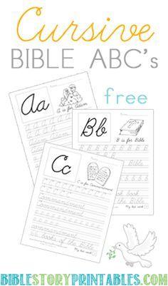 Free cursive handwriting worksheets instant download handwriting free cursive bible abc worksheets fandeluxe Images