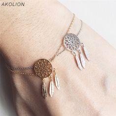 AKOLION Lucky Dreamcatcher hollow feather Bracelets Anklet Gold Snake Chain Charm Bracelet Party Jewelry The cheapest