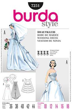 Burda Wedding Dress Sewing Pattern, 7251