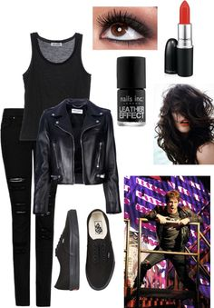 A fashion look from March 2013 featuring sleeveless shirts, leather motorcycle jacket and slim fit jeans. Browse and shop related looks. American Idiot, Green Day, Sleeveless Shirt, Motorcycle Jacket, Broadway, Drama, Fashion Looks, Budget, Slim