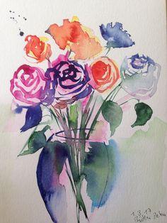 Aquarell  Blumenstrauß  Blumen Natur  17 x von GallerieSilberschatz