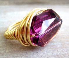 GYPSY ROSE purple swarovski crystal wire wrapped ring via Etsy.