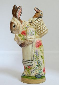 Chalkware Rabbit with baby bunny from an antique chocolate mold | Bittersweet House Folk Art