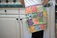 Rag quilt half apron in 1930's reproduction prints