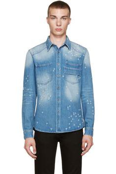 Givenchy - Blue Distressed Denim Shirt
