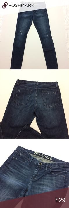 Madewell Distressed Blue Jeans Size 28 Pre-owned in good and clean condition Madewell blue jeans in size 28. These are made with a distressed look. They have a rise of 8 inches and an inseam of 31 inches. The waist is 15 inches across front and hips are 18 inches across front. They are made of 98% cotton and 2% elastane. Please see my pictures and feel free to ask any questions, thank you. Happy posh shopping. Madewell Jeans Straight Leg