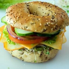 Veggie and Cheese Bagel Sandwich Recipe Lunch and Snacks with cream ...
