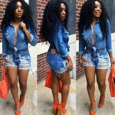 Denim on Denim. Cheap Human Hair, Human Hair Wigs, Cute Casual Outfits, Summer Outfits, Kid Outfits, Denim Outfits, Swag Outfits, Casual Wear, Blue Denim Shirt