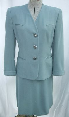 1940s Suit Two Piece Joselli Light Blue Wool Crepe