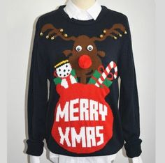 navy elk pullover ugly Christmas sweater for winter letter MERRY XMRS crew neck Christmas jumpers