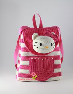 AMP-Startseite – Emine Demir – Join the world of pinThis Pin was discovered by СаиHello Kitty Crocheted Back PackBags – Knitting world and crochet Hello Kitty Crochet, Hello Kitty Bag, Crochet Backpack, Backpack Pattern, Free Crochet Bag, Cute Crochet, Crochet Handbags, Crochet Purses, Crochet Girls