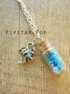 Bouteille de verre bleu mini Dragon argent Collier - bijoux fantaisie pour les faveurs de mariage, cadeaux, mode d'elven, cadeau d'anniversaire