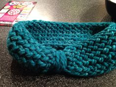 Loom knit ear warmer, in love with this color.
