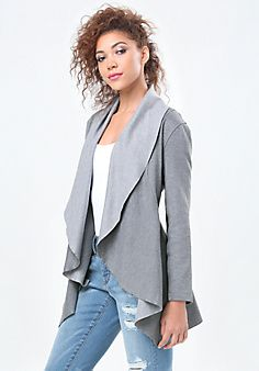 Shop bebe for: Jackets & Coats - Heathered Ponte Jacket - Pristine jacket  in a soft heathered ponte. Features a relaxed fit-and-flare silhouette and  ...