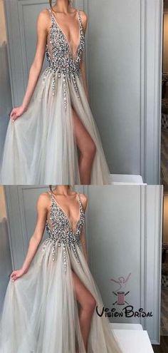 8283092a1a8d Shinny V-Neck Side Slit Prom Dresses With Rhinestones
