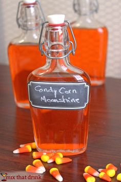 How to make a Candy Corn Moonshine infusion – also works with vodka and Barcadi light rum. Perfect for Halloween and tailgating! Liquor Drinks, Cocktail Drinks, Alcoholic Drinks, Bourbon Drinks, Candy Alcohol Drinks, Cocktail Recipes, Craft Cocktails, Coffee Drinks, Moonshine Cocktails
