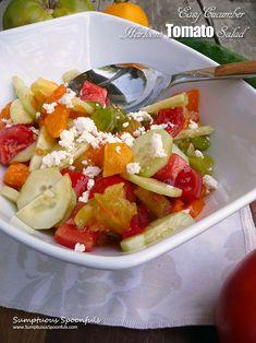 Easy Cucumber Heirloom Tomato Salad