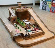 parkgarage aus karton diy spielzeug pinterest karton basteln mit kindern und basteln. Black Bedroom Furniture Sets. Home Design Ideas