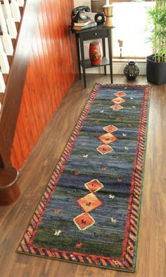 Navy Blue Olive Green Red Hall Runner Rug Unusual Modern Design Floor  Runner Mat