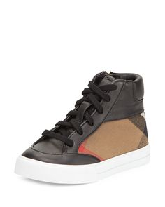 Haypark Mini Check High-Top Sneaker, Black/Tan, Toddler, Size: 27 EU (10 US) - Burberry