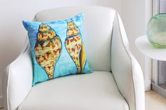 Sea Shell Pillow Accent Pillow Coastal Art sea Shell Print by coastal artist Alexandra Nicole Newton
