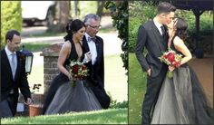 '90210' Star Shenae Grimes Gets Married In A Black Wedding Dress!   Hollywire