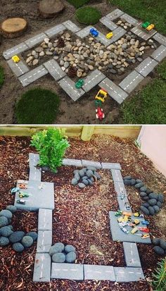 Boys rock garden with Matchbox Cars.