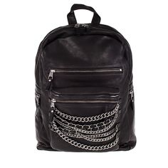 Ash Domino Womens Chain Backpack Black Leather