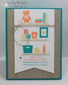 I used the Stampin' Up! Bookcase Builder stamp set to create a fun and customizable baby card. The colors for my card were inspired by Stamp Ink Paper Challenge #86. I had to add in a little…