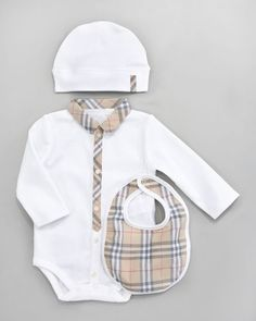Burberry - Boxed Bodysuit, Hat & Bib Set