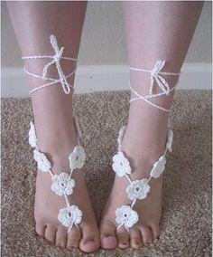Flower Barefoot Sandals, Handmade, Crochet, Bare Foot Sandals, BoHo, Fashoinable, Custom Colors, Adult, Yoga Socks, Wedding
