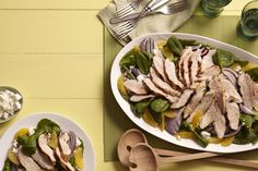 Orange, Spinach Chicken Salad from familycircle.com #myplate #salads