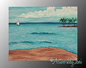 "ALL IMAGES ARE THE PROPERTY OF ArtworkbyJeni AND ARE COPYRIGHT PROTECTED - PLEASE DO NOT STEAL, USE, OR REPRODUCE THESE IMAGES WITHOUT WRITTEN PERMISSION FROM THE ARTIST. Ocean SeAsCaPe pAiNtiNg Acrylic on CaNvAs Thick Textured Colorful Art 14"" x 11"" by ArtworkbyJeni - ""The Island"" #sea #beach #ocean #seascape #sail #sailboat #sailing #tropical #island #decor #waves #summer #holiday #vacation #painting #art #artwork #canvas #acrylic"
