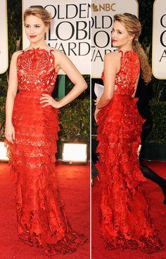 Dianna Agron, guapa de rojo pasión por Giles Deacon.
