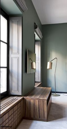 Radiator cover, Baden Interior By Sarah Lavoine Estilo Interior, Home Interior, Modern Interior, Interior Architecture, Interior And Exterior, Interior Decorating, Decorating Games, Wall Colors, Green Wall Color