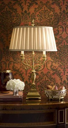 beautiful vignette with gorgeous cast brass table lamp and decorative home accessories; decorating ideas; brass lamps