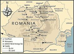 Map of Romania showing castle locations. Must visit someday! Especially Pele's Castle and Bran's Castle (Dracula)! Transylvania Dracula, Transylvania Romania, Moving To Scotland, Dracula Castle, Peles Castle, Republic Of Macedonia, Map Globe, Dark Ages, Romanian Food