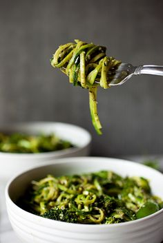 The Ultimate Green Veggie Bowl (with zucchini noodles, broccoli, snap peas, and pesto)