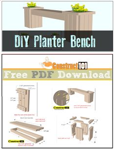 Planter bench plans, free PDF, cutting list, and shopping list.